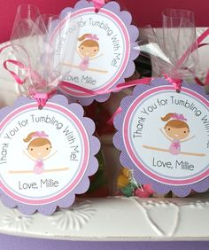 Gymnastics Party cookie tags