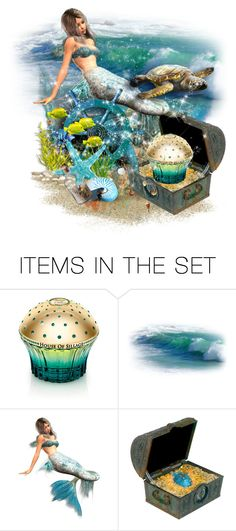 """Mermaids Treasure: Perfume Bottle"" by majezy ❤ liked on Polyvore featuring art"