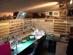 This well planed & design modelling room is in 16' x 8' wooden workshop http://pauls-scale-models.blogspot.com.au/2013/02/my-new-modelling-workshop.html