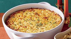 The Southern holiday sideboard isn't complete without a pan of cheesy and creamy corn pudding. This version, made with fontina or Swiss cheese, is more savory than sweet. If fresh corn isn't in season, you can use frozen corn. Drain the thawed corn … Corn Pudding Casserole, Corn Pudding Recipes, Casserole Recipes, Corn Recipes, Hamburger Casserole, Kraft Recipes, Chicken Casserole, Easy Recipes, Dulce De Leche