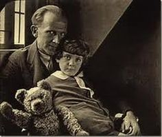 Christopher Robin Milne with his teddy bear Edward and father A.A. Milne. The inspiration behind the Winnie-the-pooh stories