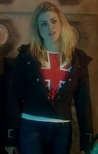 Rose Tyler's outfit from The Empty Child...  - Union Jack shirt with white collar - White undershirt - Firetrap bomber jacket with hood  - Dark jeans  - Baby blue Timberlands  - Nine's Sonic Screwdriver