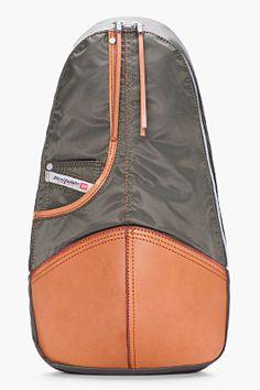 interesting shape....DIESEL green leather-trimmed Back-Hob backpack