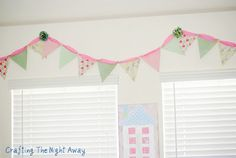 Pennant banner from paper & ribbon.