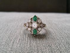 Estate Diamond Emerald Antique Engagement Ring Art Deco Flower Filigree Bridal Green Princess 14k White Gold size 6.25