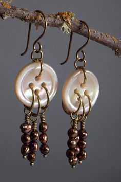 Vintage Mother of Pearl Button Earrings with a Trio of Iridescent Bronze Fresh W. Vintage Mother of Pearl Button Earrings with a Trio of Iridescent Bronze Fresh Water Pearl Strands on Antique Brass Ear Wires, - - Button Earrings, Wire Earrings, Wire Jewelry, Boho Jewelry, Earrings Handmade, Beaded Jewelry, Jewelery, Jewelry Accessories, Jewelry Design