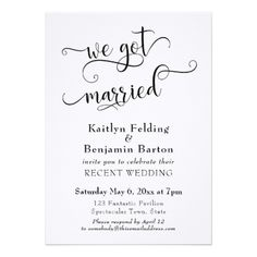Wedding Reception Food We Got Married Typography Wedding Reception Only Card - marriage invitations wedding party cards invitation - Shop We Got Married Typography Wedding Reception Only Invitation created by PaperMuserie. Personalize it with photos Wedding Reception Invitations, Wedding Reception Food, Reception Decorations, Wedding Receptions, Reception Ideas, Wedding Ceremony, Plan Your Wedding, Wedding Tips, Wedding Planning