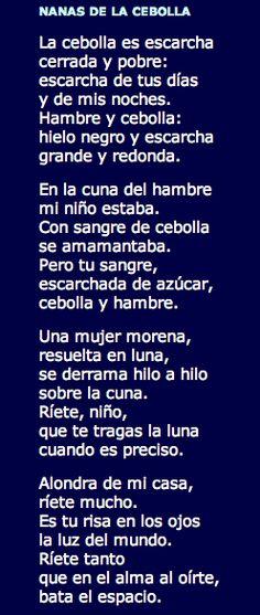 Nanas de la cebolla de Miguel Hernández. Representante de la Generación del 27.