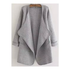 Plain Grey Casual Acrylic Coat Loose Cocoon Long Sleeve Pockets Fall Sweaters, Size Available: one-size Sleeve Length(cm): 56cm Length(cm): 84cm Bust(cm): 105c…