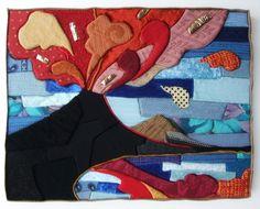 """""""Tra fuoco e mare"""" (2015) 32 x 42 cm. Tarsie di gommapiuma e tessuti con elementi a riporto."""