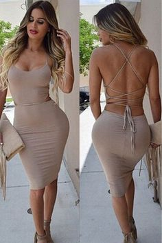 Tight Sexy V-Neck Solid Color Dress