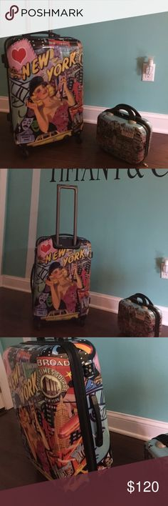 New York suitcase and makeup bag So cute and so light Suitcase Other
