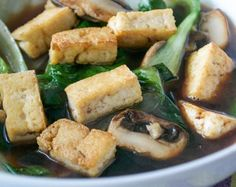 200 calorie recipes: Stir-fried Tofu and Vegetable Soup is a delicious light dinner