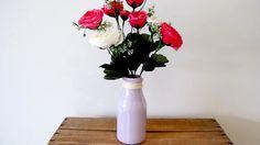 Painted Glass Vase, Milk Bottle Vase, Wedding Decoration Pink