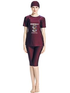08dab42199e97 Women's Short Sleeve Muslim Swimwear Islamic Burkini Hijab Modest Lady  Swimsuit - Red - C518EGI004Y