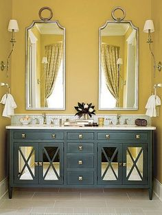 Experiment with color. Fall 2015 Color trends for the home. Misted Yellow Bathroom