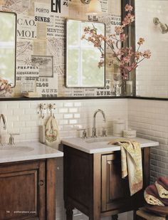 "Love Your Space: Small Measures: Decoupage Wall ""vintage newspapers and personal ephemera = unique (and cheap) wallpaper in a day"""