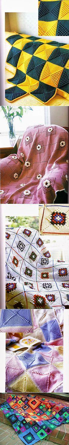 Красивые вязаные одеяла.