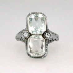 Luxurious 1920s Double Aquamarine and Diamond Filigree Ring 20k | Antique and Estate Jewelry | Jewelry Finds SOLD: 10/10/14