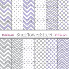 Purple Gray Digital Paper Chevron Polka Dot Scrapbook Background - small large patterns lavender grey photography DIY baby shower decoration by StarFlowerStreetDA