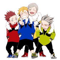 Tendou, Terushima, Lev, and Bokuto. Kagehina, Bokuto Koutarou, Kuroken, Oikawa, Haikyuu Volleyball, Volleyball Anime, Haikyuu Fanart, Haikyuu Anime, Anime Manga