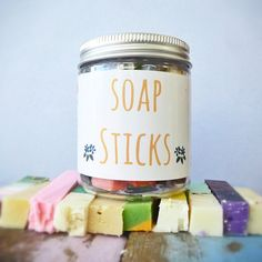 In this jar you will find a selection of gorgeous multicoloured soap sticks by Cleanse with Benefits. Available at #shoprubyfrank.