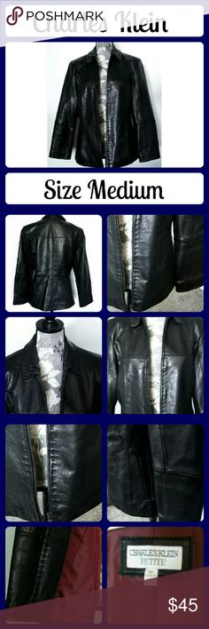 Charles Klein Leather Jacket Coat Black Zipper Black Leather coat jacket. It's in excellent condition. Made by Charles Klein. Leather is very soft.  From a smoke-free home Charles Klein Jackets & Coats