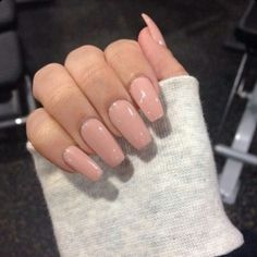 Nude Square Tip Acrylic Nails