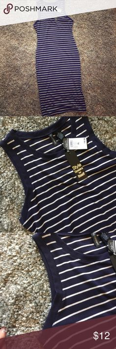 Selling this Rue 21 Navy/White Striped Midi Dress Stretchy XL on Poshmark! My username is: purselover. #shopmycloset #poshmark #fashion #shopping #style #forsale #Rue 21 #Dresses & Skirts