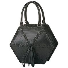 @PleaserShoes Demonia Black Hexagon Spider Stitch Purse with Tassels $65 This Black hexagon shaped rubber purse that has spiderweb-style stitching on the outside with tassels and sturdy handles.(http://www.dallasnovelty.com/pleaser-shoes-demonia-black-hexagon-spider-stitch-purse-with-tassels/)