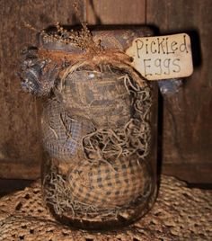 I have a bunch of those little eggs- love the pickled eggs tab! Rustic Crafts, Country Crafts, Primitive Crafts, Decor Crafts, Primitive Christmas, Primitive Decorations, Primitive Stars, Primitive Candles, Primitive Patterns