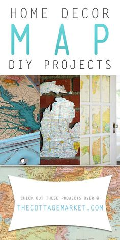 Home Decor Map DIY Projects - The Cottage Market #Maps, #MapDIYProjects, #HomeDecorMapDIYProjects