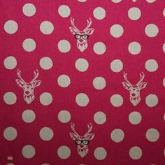 Latest Designer Fabric 'Deer in Glasses in Pink' by Echino (JPN). Roman blinds and curtains make to order online.