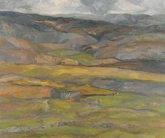 Sheila Fell: Farmhouse, Yorkshire (1973) Lake Painting, Landscaping Images, Landscape Paintings, Landscapes, Painting Inspiration, Yorkshire, Farmhouse, Fall, Artwork