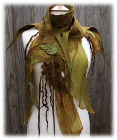 Green Woodland Tattered Scarf  Nuno Felt Wrap Belt by folkowl, $68.00