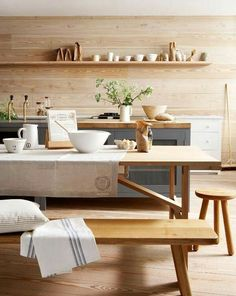 Love the wood and metal cabinets