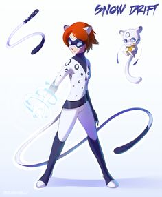 This is Snow Drift, a Canadian superhero. When transformed she harnesses the power of the snow leopard.