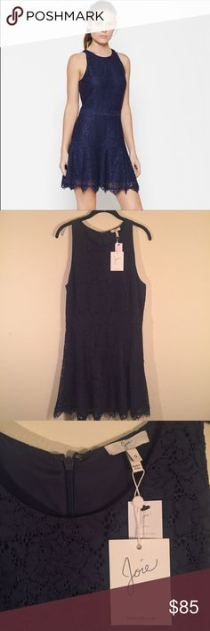 Joie Adisa Navy Blue Dress Beautiful Adisa dress by Joie in Navy blue. Dress is sleeveless and has beautiful lace detail all over. Back has zipper closure and bottom of the dress has a slightly scalloped frayed look. Size 12 Joie Dresses