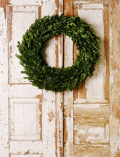 Simple but beautiful - boxwood wreath..... Note to self, Trader Joe's has large full boxwood wreaths for $9.99! Christmas time of course !