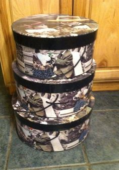 Tri Coastal Design Hat Boxes Lot of 3 Nesting Storage Little Boy & Girl #TriCoastalDesign #Country