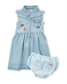 Hudson (Infant Girls) Two-Piece Denim Patch Dress & Shorts Set