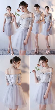 High Quality Lace up Bridesmaid Dress,A-Line Prom Dress,Off Shoulder Bridesmaid Dresses,2017 Most Popular Short Chic Bridesmaid Dresses,Bridesmaid Dresses,GU67