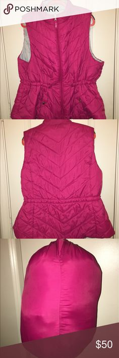 Lane Bryant Puffy Vest Stunning!! Size 22/24 Bright pink, 100% polyester vest is light but provides warmth when needed. Totally REVERSIBLE! When not in use, stuff it in the little matching pouch (also makes a good airline pillow, jus' sayin!). Worn and washed twice; totally flawless. 🌺 Lane Bryant Jackets & Coats Puffers