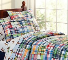 LOVE PB Kids Madras bedding - for Jackson's room. IT will grow with him. I can just change out the sheets more often.