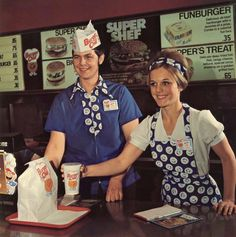 I'll take some of those trippy uniforms, a 35 cent Funburger, and a side of free love. This was the era that started parodies of fast food workers.