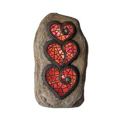 Moonrays Chris Emmert Designs in. Stacked Hearts Solar Powered Integrated LED Outdoor Landscape Garden Light 92499 - The Home Depot Mosaic Rocks, Mosaic Art, Mosaic Glass, Stained Glass, Rock Mosaic, Glass Art, Mosaic Projects, Art Projects, Mosaic Ideas