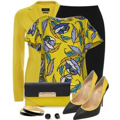 Yellow Floral Blouse by snickersmother on Polyvore featuring moda, P.A.R.O.S.H., Weekend Max Mara, Warehouse, Christian Louboutin and Kate Spade