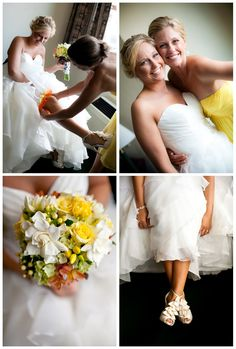Amazing wedding shoes and yellow and orange wedding bouquet by Petal Pushers in Green Bay, WI.  http://markhawkinsphoto.com