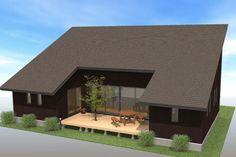 平屋間取りプラン:外観 Minimalist Architecture, Architecture Design, Bungalow Extensions, Japanese Style House, Casas Containers, Arch House, House Landscape, Loft Design, Small House Design
