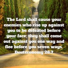 The Lord shall cause your enemies who rise up against you to be defeated before your face; they shall come out against you one way and flee before you seven ways. (‭Deuteronomy‬ ‭28‬:‭7‬ AMP)Have a blessed day n Jesus Christ..May God bless you abundantly..